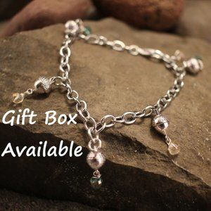 Acorn Charm Adjustable Silver Bracelet